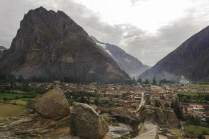 Ruins of an Incan Fortress and Temple Complex Above the Village of Ollantaytambo by Beth Wald