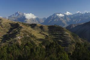 Snow-Capped Peaks of the Urubamba Range Tower over Terraced Fields on Steep Hillsides by Beth Wald