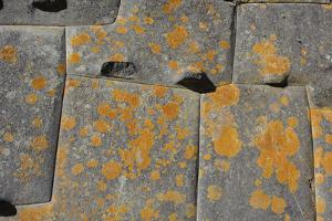 Stonework with Orange Lichen in an Incan Fortress and Temple by Beth Wald