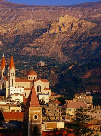 Churches in Village with Mountains Behind, Bcharre, Lebanon