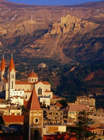 Churches in Village with Mountains Behind, Bcharre, Lebanon by Bethune Carmichael