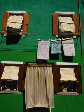 Detail of Colourful House with Washing Hanging on Line Outside, Burano, Italy by Bethune Carmichael
