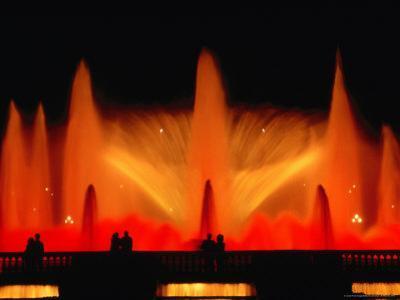 La Font Magica Lit Up at Night, Montjuic, Barcelona, Spain by Bethune Carmichael