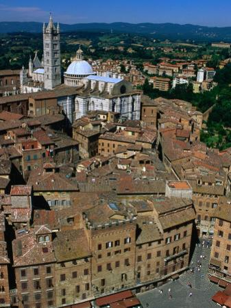 Overhead of Piazza Del Compo and Buildings, with Duomo Behind, Siena, Italy by Bethune Carmichael