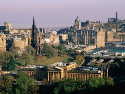 Overhead of Princes Gardens and National Gallery from Edinburgh Castle, Edinburgh, United Kingdom by Bethune Carmichael