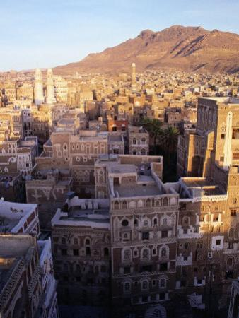 Overhead of Rooftops and Buildings of Town, San'a, Yemen by Bethune Carmichael