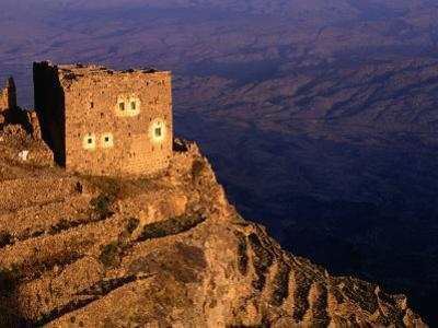 Ruined Building on Hilltop Overlooking Valley, Shihara, Yemen by Bethune Carmichael