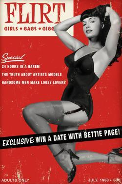 Bettie Page Flirt Pin-Up by Retro-A-Go-Go Plastic Sign