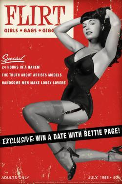 Bettie Page Flirt Pin-Up by Retro-A-Go-Go Poster