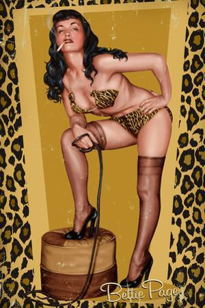 Bettie Page Golden Leopard Pin-Up by Retro-A-Go-Go Plastic Sign