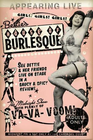 Bettie Page House of Burlesque by Retro-A-Go-Go Poster