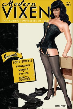Bettie Page Modern Vixen Pin-Up by Retro-A-Go-Go Plastic Sign
