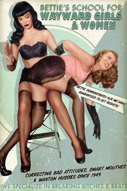 Bettie Page School For Wayward Girls by Retro-A-Go-Go Poster