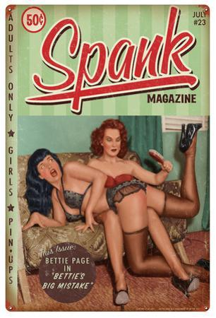 Bettie Page Spank Metal Sign