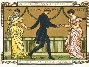 19th-Century Illustration of a Man Dancing Between Two Women by Bettmann