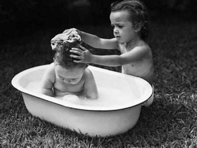 Baby Siblings Taking a Bath by Bettmann