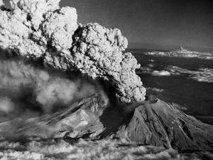 Mount St. Helens Eruption and Mount Hood by Bettmann