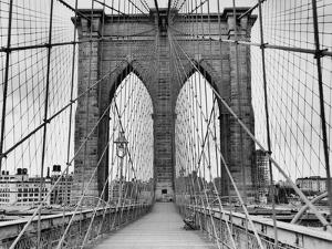 Pedestrian Walkway on the Brooklyn Bridge by Bettmann