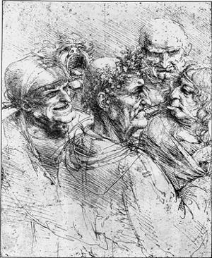 Print After a Drawing of Five Characters in a Comic Scene by Leonardo da Vinci by Bettmann