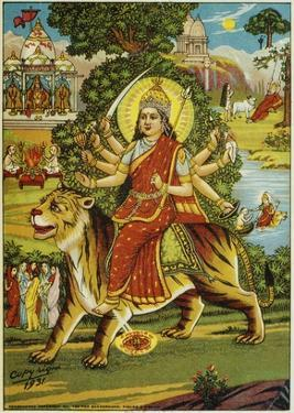 The Goddess Durga Color Lithograph by Bettmann