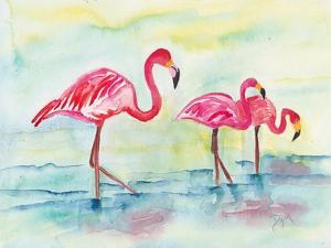 Sunset Flamingoes I by Beverly Dyer