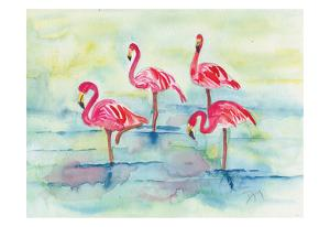 Sunset Flamingoes II by Beverly Dyer