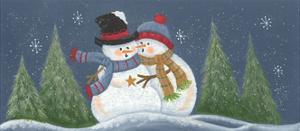 2 Snowmen Possibly Hugging by Beverly Johnston