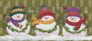 3 Snowmen Holding Strands of Holly 2 with Red Birds on their Hats Checkered Background by Beverly Johnston