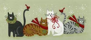 4 Holiday Cats and 2 Cardinals by Beverly Johnston