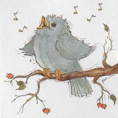 A Little Blue Bird Chirping on a Branch