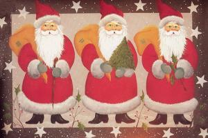 A Trio of Santa's Bordered with Stars and Brown by Beverly Johnston