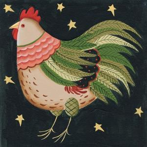 Rooster with Stars in Background Bordered by Beverly Johnston