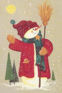Snowman Holding a Broom, Waving to Someone in the Distance by Beverly Johnston