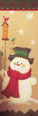 Snowman Holding a Holly Branch with a Bird House on Top of it Red Bird by Beverly Johnston