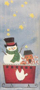 Snowman in a Sleigh with Toys and Candy Canes by Beverly Johnston
