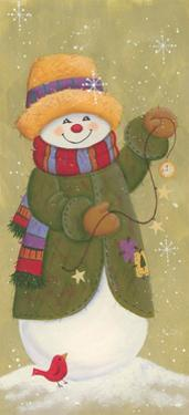 Snowman in Jacket, Scarf, and Hat Holding a Pocket Watchtis the Season..... by Beverly Johnston