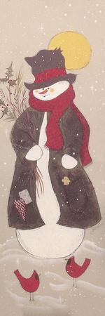 Snowman with Top Hat, Scarf, and Jacket Holding Tree Branch with 2 Red Birds