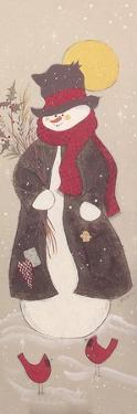 Snowman with Top Hat, Scarf, and Jacket Holding Tree Branch with 2 Red Birds by Beverly Johnston