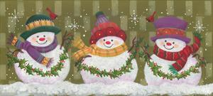Trio of Snowmen Holding Strands of Holly by Beverly Johnston