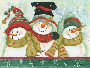 Trio of Snowmen Wearing Hats, Scarves by Beverly Johnston