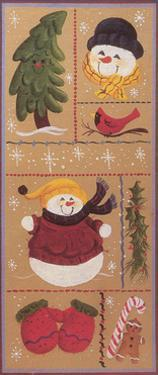 Various Squares of Mittens, Gingerbread Men, Holly, Christmas Trees, Snowmen and a Cardinal by Beverly Johnston