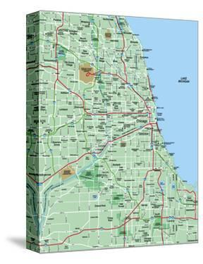 Maps of Chicago, IL Stretched Canvas Prints at AllPosters.com