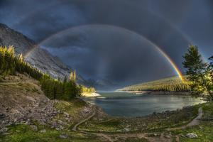 Beautiful Double Rainbow over Scenic Medicine Lake, Jasper National Park in the Canadian Rocky Moun by BGSmith