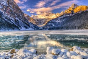 Winter Sunrise over Scenic Lake Louse in Banff National Park, Alberta Canada by BGSmith