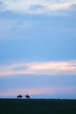 Two Horses and the Riders, Flint Hills, Kansas, United States of America, North America by Bhaskar Krishnamurthy