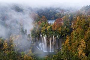 Veliki Prstavci Waterfalls Close to Gradinsko Lake at Dawn, Plitvice Lakes Np, Croatia, October by Biancarelli