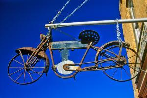 Bicycle sign outside store, Virginia City, MT
