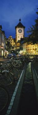 Bicycles Parked Along a Stream Near a Road, Freiburg, Baden-Wurttemberg, Germany