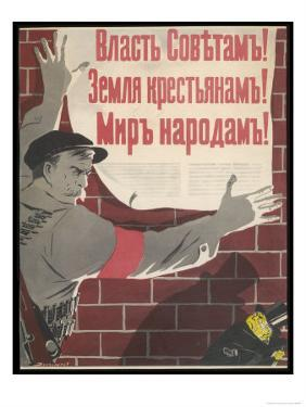 Big Brave Communist Worker Fixes a Poster on a Wall