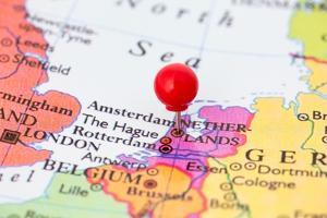 Red Pushpin On Map Of Netherlands by Bigandt_Photography